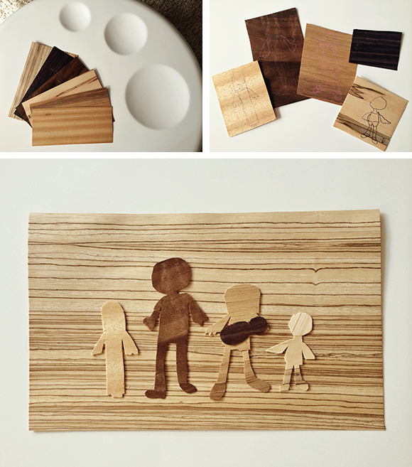 pinksugarland fathers day wood veneer family portrait